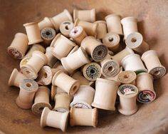 Vintage Wooden Spools, Rustic Salvage - Lot of 50 Empty Sewing Thread Spools