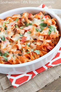 Southwestern OPA Ranch Casserole - a delicious casserole with chicken, mushrooms, tomatoes and egg noodles tossed in a flavorful sauce made using enchilada sauce and OPA Greek Style Ranch Dressing. Best casserole EVER! Casserole Recipes, Pasta Recipes, Chicken Recipes, Cooking Recipes, Healthy Recipes, Pasta Casserole, Chicken Casserole, Mexican Food Restaurants, Mexican Food Recipes