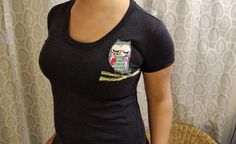 Custom Hand Stitched Owl T-shirt (You choose color & Size). $26.99, via Etsy.