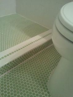 green penny round bathroom - Google Search