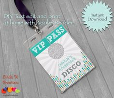 ☆☆ THIS IS A PRINTABLE FILE OF THE INSERTS ONLY – LANYARDS & BADGE HOLDERS ARE NOT INCLUDED! ☆☆ 1. INSTANT DOWNLOAD Download your Dance Party