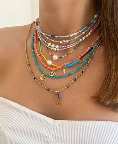 Hippie Jewelry, Cute Jewelry, Funky Jewelry, Layered Jewelry, Pulseras Kandi, Handmade Wire Jewelry, Handmade Necklaces, Accesorios Casual, Bead Jewellery