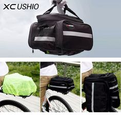 1x Convertible Bicycle Luggage Bag Road Mountain Bike Rear Seat Rack Cargo Carrier Container Bag with Rainproof Cover