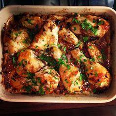 Best Ever Roasted Chicken - soy sauce, red wine vinegar, brown sugar, garlic, olive oil.