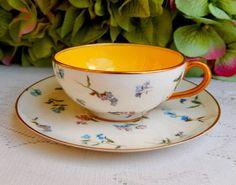 Beautiful Vintage Royal Worcester Porcelain Demitasse Cup & Saucer Floral Gold #RoyalWorcester