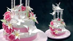 Wedding Cake with a Sugar Gazebo Topper - Yeners Way Cake Decorating Tutorials