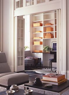big, tall french doors - Small Den/Office.  Ours is 3 times this size and much higher.  If they can make this work... we can!!!
