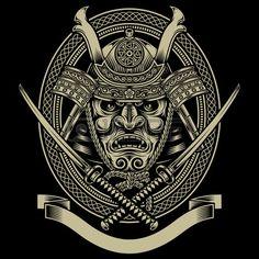 Samurai wojownika z mieczem katana Zdjęcie Seryjne