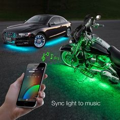 Smartphone app controlled LED accent lighting for your motorcycle. Comes with 20x12' Undeglow Tubes + 4x3ft Wheel Light strips and plenty of accessories. 16 million color options and music sync.