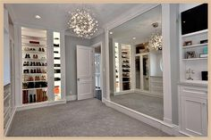 trendy Ideas for luxury closet room chandeliers Walk In Closet Design, Bedroom Closet Design, Master Bedroom Closet, Closet Designs, Spare Room Closet, Closet Rooms, Closet Space, Master Bedrooms, Dressing Room Closet
