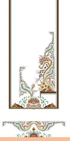 Border Embroidery Designs, Embroidery Motifs, Pattern Art, Pattern Design, Print Patterns, Geometric Flower, Geometric Art, Church Flower Arrangements, Paisley Art