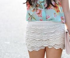 floral shirt with lace shorts