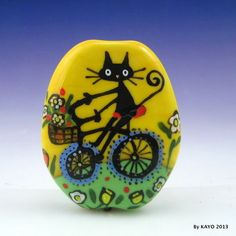 """A BASKET OF TREASURES"" byKAYO a Handmade CAT Lampwork Art Glass Focal Bead - free formed & flattened size 44 mm tall x 35 mm wide x 8 mm thick - Moretti(effetre) soft glass used & design in various colours of enamel - SRA eBay<3<3<3FUN<3<3<3"