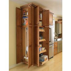 pantry & broom closet- create the broom closet that slides out like the drawers in pantry closet instead of doors when no space for the door.