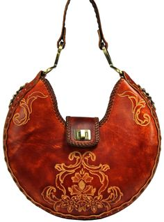 Leather Carved and Tooled Handbag. $425.00, via Etsy.