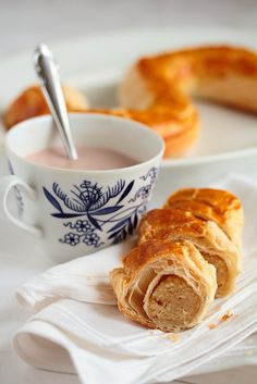 Hot chocolate and banketletter (Dutch pastry).