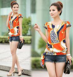 big size 2014 New fashion retro shell printing 4XL women t shirts chiffon female tops chifon blusas estampada camisas Grande L