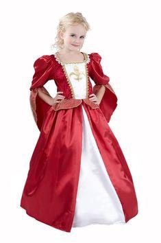 Déguisement princesse médiévale fille : Ce déguisement de reine médiévale pour fille se compose d'une longue robe et d'un jupon (cerceau non inclus). Cette robe est rouge et ivoire. Le buste, imitation...