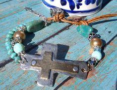 Sundance Sideways cross Bracelet double strand turquoise silver leather and pearl prayer box boho bracelet religious hand knotted