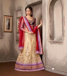 Beige Net Wedding Lehenga Choli 59658