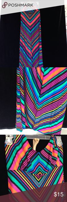 Geometric stripped maxi dress. Multicolored stripes, with a halter top, ties around the neck, never worn, perfect condition. Full Tilt Dresses Maxi