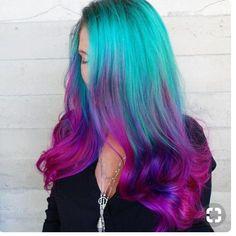 Pink Ombre Hair, Dyed Hair Pastel, Violet Hair, Blue Ombre, Aqua Hair, Pretty Hair Color, Hair Dye Colors, Mermaid Hair, Mermaid Makeup