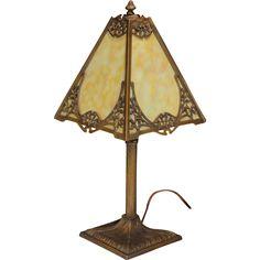 Miller Art Nouveau Slag Glass Panel Lamp panel lamp, glass panel, slag glass