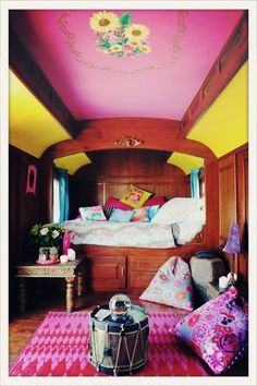 Pink room at the 'Mas de la fouque' in Camargue, France