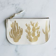 Amelie Mancini - White Leather Cactus Pouch from MODERN FOLK LIVING for $68.00