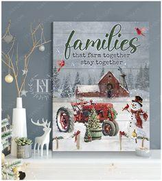 Christmas Wall Art Canvas Christmas Wall Art Canvas, Canvas Wall Art, Canvas Prints, Red Tractor, Canvas Material, Beautiful Christmas, Cotton Canvas, Barn, Holiday Decor