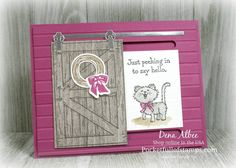 Stampin' Up! Barn Door - Video Tutorial using the Barn Door stamp set and coordinating Sliding Door framelits. What would you hide behind this adorable sliding door? Cat Cards, Kids Cards, Barn Door Sliders, Slider Cards, Barn Door Hardware, Barn Doors, Sliding Doors, Stamping Up Cards, Scrapbooking