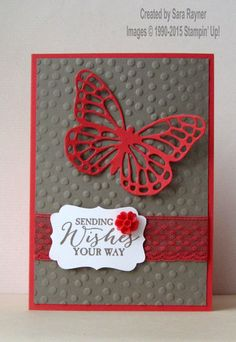 Watermelon butterfly card, using supplies from Stampin' Up! www.craftingandstamping.com #stampinup