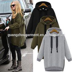 europese vrouwen winter katoen hoodie met een grote kap lange trui pullover…