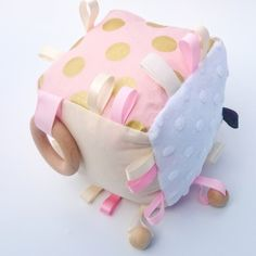 BABY BLUSH PINK AND GOLD POLKA DOT AND CREAM COGNITIVE ACTIVITY CUBE SENSORY BLANKET RATTLE TOY TODDLER MINK FABRIC COTTON BEECH WOOD TAGGIE TAGGY TEETHING RING NATURAL TEETHER SOFT BLOCK HANDMADE KAWAIIDEZIGNS