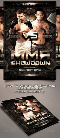 Mma  Boxing Fight Flyer Template Night Showdown  Download Here