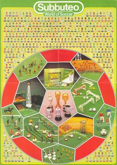 Nothing could be more guaranteed to brighten up a young child's bedroom wall than a Subbuteo poster. It's been proven scientifically, prob. Retro Football, Football Design, Vintage Football, 1970s Childhood, Childhood Memories, Image Foot, Table Football, Laws Of The Game, Football Images