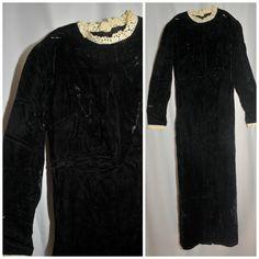 Vintage 1960's / Black Crushed Velvet / Maxi by CicelysCloset