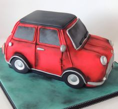 Antique styled old style mini cooper birthday cake