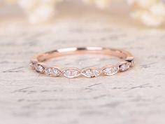 Valentine's gift Wedding Bands Half Eternity Band Bezel Engagement Ring Bezel Set Ring Art Deco Wedding Band in 14k Rose Gold Marquise Ring