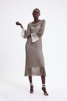 Button Dress, Crochet Fashion, Metal Buttons, Zara Women, Skort, Knit Dress, Sheath Dress, Taupe, Denim