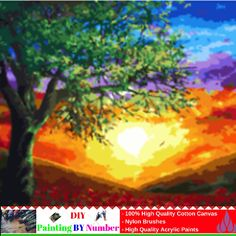 """Like and Share if you want this DIY Painting By Number – Sunset (16""""x20"""" / 40x50cm)     Tag a friend who would love this!     FREE Shipping Worldwide     Buy one here---> https://artgiftworld.com/diy-painting-by-number-sunset-16x20-40x50cm-2/"""