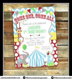 Circus Invitation, Carnival Party, Circus Party, 1st Birthday Invitation, Monkey Invitation, Elephant Invitation, Circus Theme Invitation by MemoryMakerStudio on Etsy