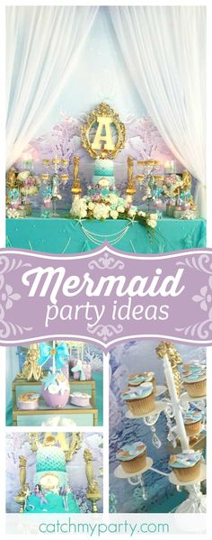 Don't miss this gorgeous Little Mermaid birthday party. The dessert table is marvelous!! See more party ideas and share yours at CatchMyParty.com
