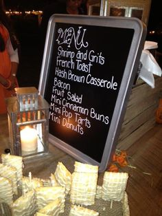 The Breakfast Buffet menu for our wedding