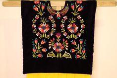 Mexican blouse Huipil de tehuana hand por CadenillayFlores en Etsy