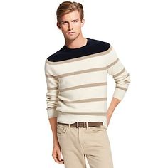 Tommy Hilfiger men's sweater. Our striped crewneck spun from soft-washed cotton. Pair it with the season's newest chinos for the perfect off-duty look.<br/>•	Classic fit.<br/>•	100% combed cotton.<br/>•	Ribbed trim, microflag at cuff.<br/>•	Machine washable.<br/>•	Imported.<br/>