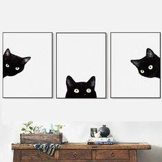 AZQSD Modern Art Affiche Zwarte katten Head Modern leuke Dierlijke Canvas Nordic Wall Picture Living Room Decor Schilderen PP162