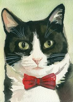 """Tuxedo Cat Image Blakc and White Cat Original by creativeartistic This is my original watercolor painting """"What's Up? """". Size :5x7 inches (13x18cm). It is painted on acid free 300g watercolor paper. The purchase of this painting does not transfer reproduction rights."""