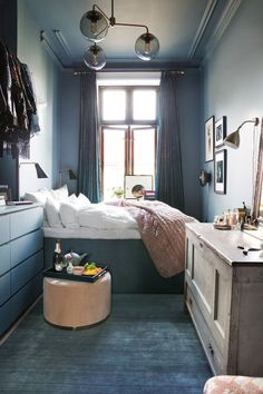 Bedroom Ideas for Small Rooms Cozy Blue. Fresh Bedroom Ideas for Small Rooms Cozy Blue. 46 the Do This Get that Guide Dark Accent Wall Bedroom Small Apartment Bedrooms, Small Room Bedroom, Cozy Bedroom, Small Rooms, Small Apartments, Narrow Bedroom Ideas, Tiny Bedrooms, Modern Bedroom, Contemporary Bedroom