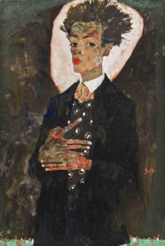 Egon Schiele, « Self-Portrait with Peacock Waistcoat, Standing, » 1911, gouache, watercolor, and black crayon on paper, mounted on board. Ernst Ploil, Vienna.